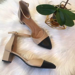 New ankle strap nude and black heels